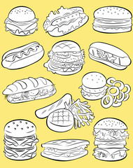 vector illustration of  fast food collection