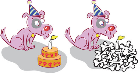 dog blowing out candles on birthday cake and bones