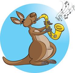 Kangaroo playing saxophone