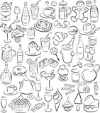 vector illustration of  sweet food and drinks collection