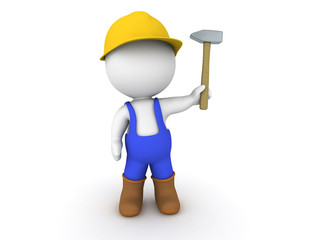 3D Man worker with hammer