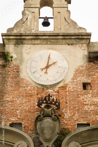 Old Clock and Bell Tower in Pisa