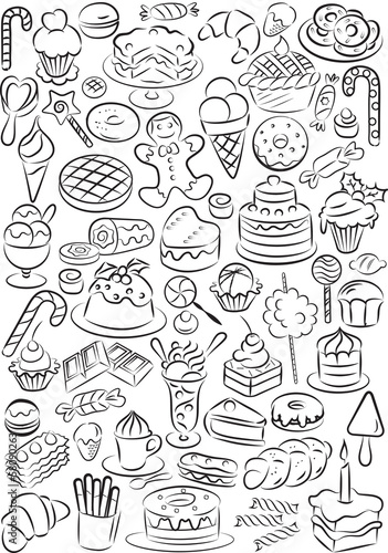 vector illustration of sweet foods collection