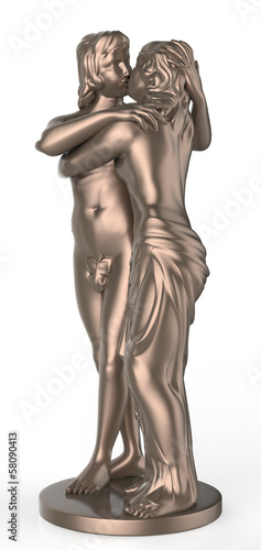 Sexy young couple kissing statue