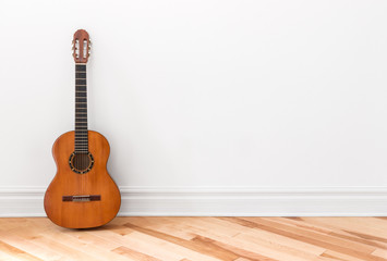 Classical guitar in an empty room