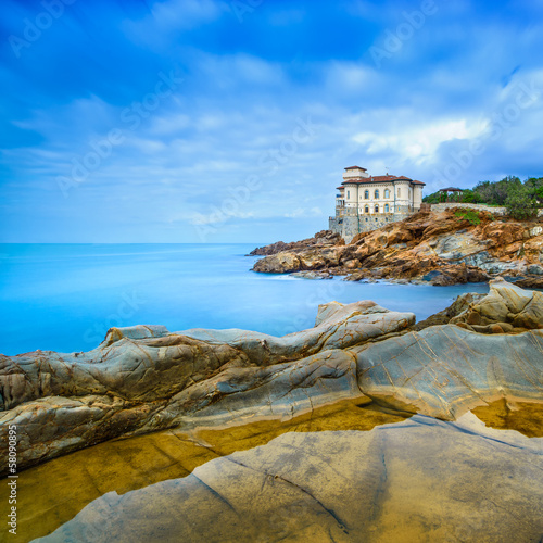 Boccale castle landmark, rock and sea. Tuscany, Italy.