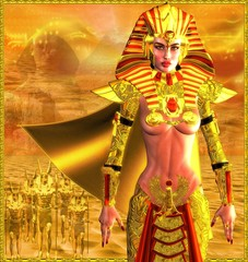 Egyptian Warrior Queen on abstract background