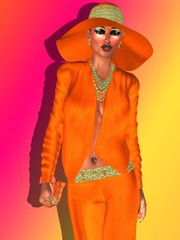 Navel orange, fashion woman