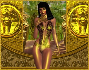 Seductive woman in leopard print bikini