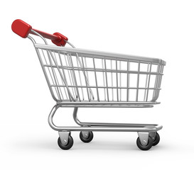 shopping cart, isolated on white with work path