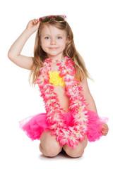 little girl wearing pink skirt, flowers holding sun glasses