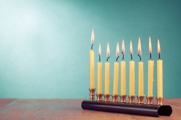 Hanukkah with burning candles for background