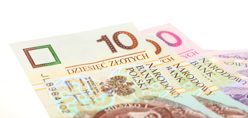Finance money polish banknote on white