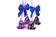 Four real christmas bells with blue ribbon