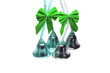 Four real christmas bells with green ribbon