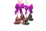 Four real christmas bells with pink ribbon