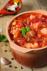 Russian  beetroot soup with beans