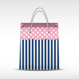 Vintage shopping bag in stripes texture
