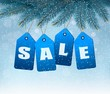 Holiday background with blue sale tags. Concept of discount shop