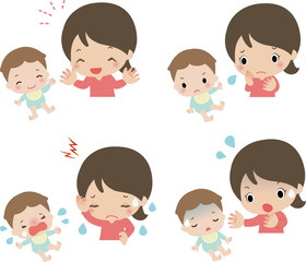 赤ちゃんとお母さんの表情