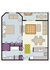 Vector of one-bedroom condo with furniture