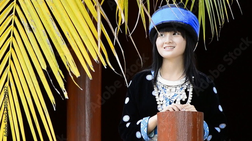 cute asian girl in hill tribe costume of thailand