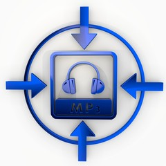 3d render of a decorative mp3 icon in focus point