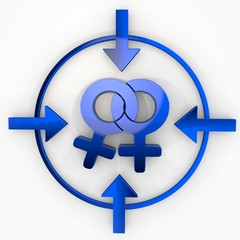 3d render of a lesbian homosexual label in focus point