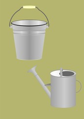 Bucket and watering can.