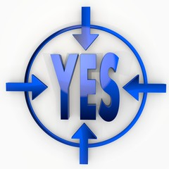 3d render of a isolated yes label in focus point