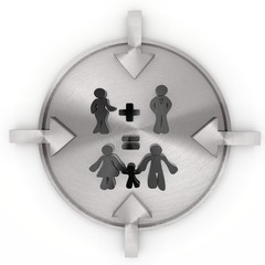 3d graphic of a cute family plan icon on metallic label