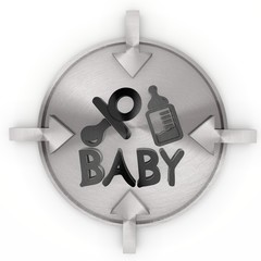 3d render of a metallic baby symbol on metallic label