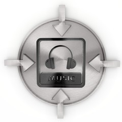 3d render of a isolated music icon on metallic label