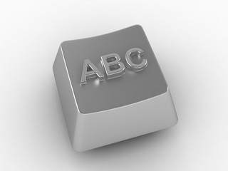 A, B, C white metal computer key