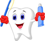Fototapety Tooth cartoon holding toothbrush and toothpaste