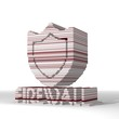 3d render of a digital firewall icon  with stylish 3d lines