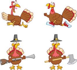 Turkey Birds Cartoon Mascot Characters 1. Collection Set