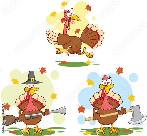 Turkey Birds Cartoon Mascot Characters 2. Collection Set