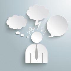 Paper Human Speech and Thought Bubbles Icons PiAd