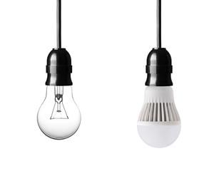 light bulb and LED bulb isolated on white