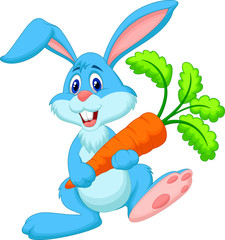 Happy rabbit holding carrot