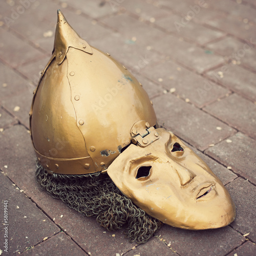 Medieval slavic helmet with a face mask