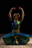 Fototapety Beautiful girl dancer of Indian classical dance Bharatanatyam