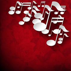 Music Note Background - Red Velvet Roses