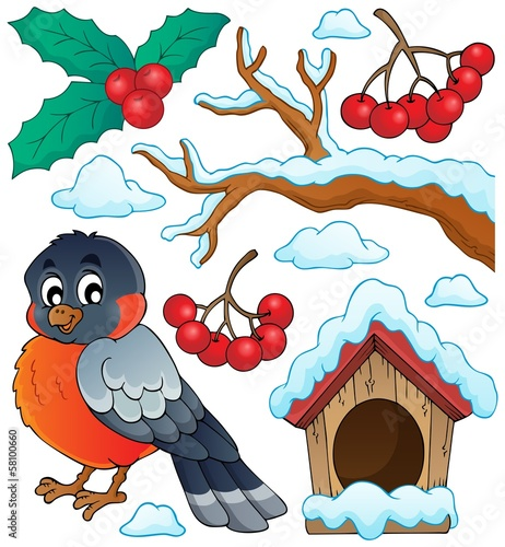 Winter bird theme collection 1