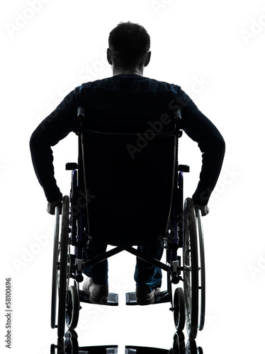 rear view handicapped man in wheelchair silhouette