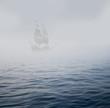 Leinwanddruck Bild - galleon in mist