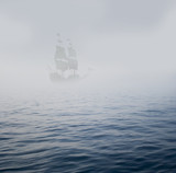 galleon in mist