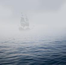 galion dans la brume