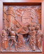 Antwerp - Jesus meets his mother. Carved relief.